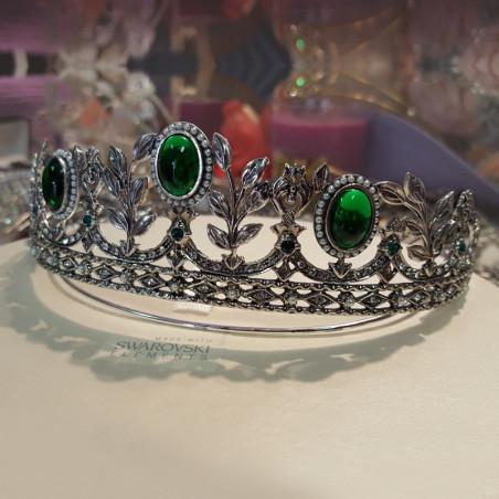 Tiara Rusia, plata & Swarovski, verde esmeralda